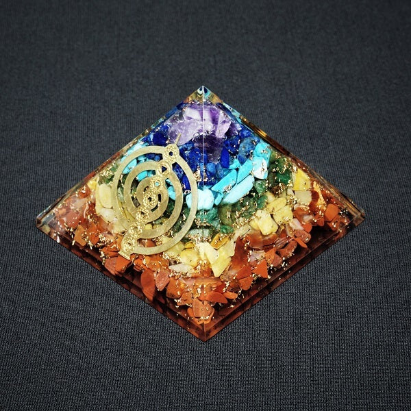 7 Chakra with 7 Chakra Cho ku Rei Symbol Orgonite Pyramid - 196 grams - Heavenly Crystals Online