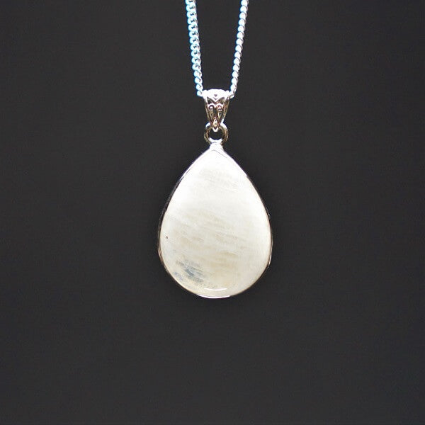 Rainbow Moonstone Pendant 925 Sterling Silver - Heavenly Crystals Online