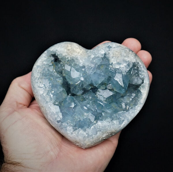 Celestite Geode Heart - 1.109 kgs - Heavenly Crystals Online