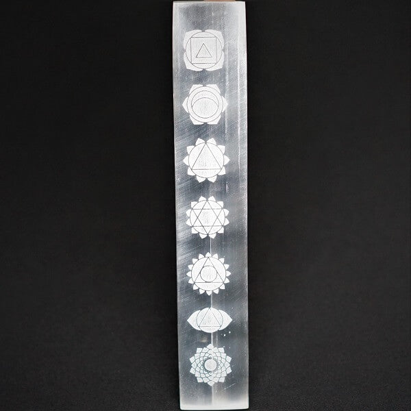 Selenite Laser Engraved Charging Platform - Chakras - heavenly-crystals-online