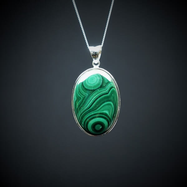 Malachite Pendant 925 Sterling Silver