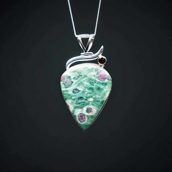 Ruby in Fuchsite with Garnet Pendant 925 Sterling Silver - Heavenly Crystals Online