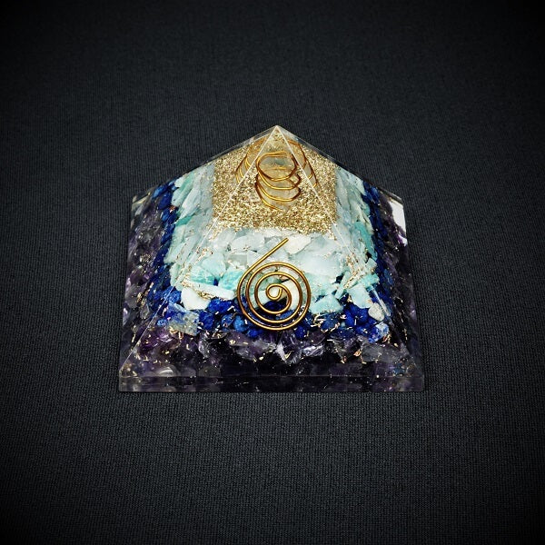 Amethyst, Lapis Lazuli, Amazonite, Celestite and Clear Quartz Orgonite Pyramid - 226 grams - Heavenly Crystals Online