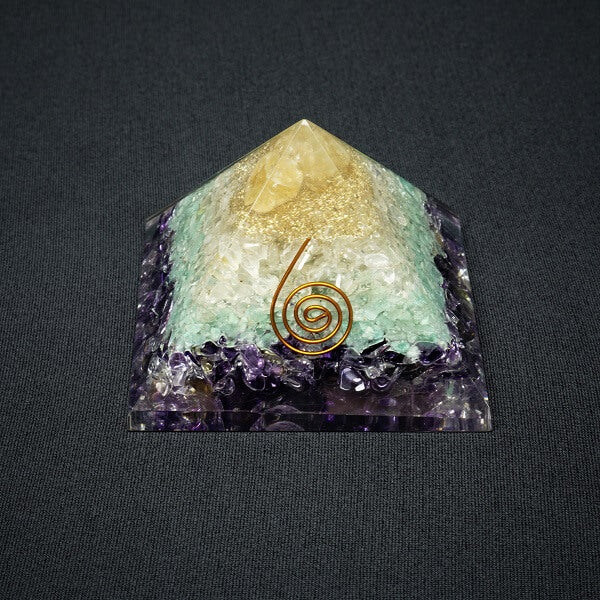 Amethyst, Green Aventurine, Clear Quartz and Citrine Orgonite Pyramid - 241 grams - Heavenly Crystals Online