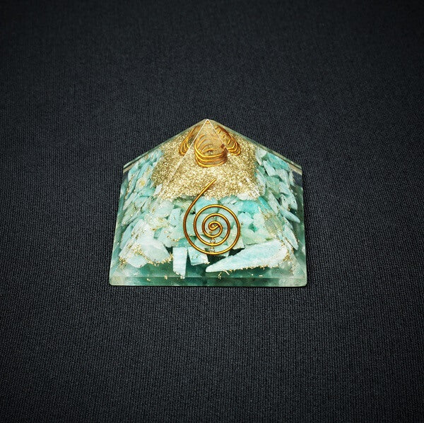 Amazonite and Clear Quartz Orgonite Pyramid - 96 grams - Heavenly Crystals Online