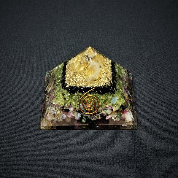 Watermelon Tourmaline, Peridot, Black Tourmaline and Citrine Orgonite Pyramid - 184 grams - Heavenly Crystals Online