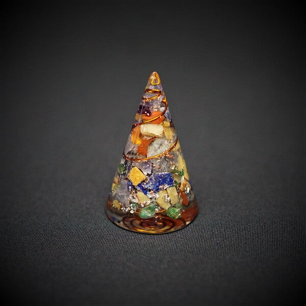 7 Chakra Orgonite Crystal Cone - 65 grams - Heavenly Crystals Online