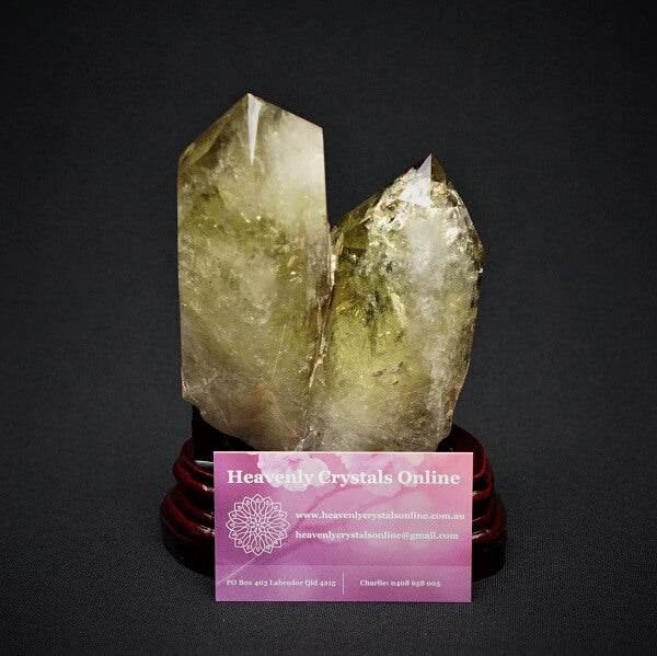 Citrine Twin Flame Double Generator Point on a Custom Wooden Base - 1.312 kgs - Heavenly Crystals Online