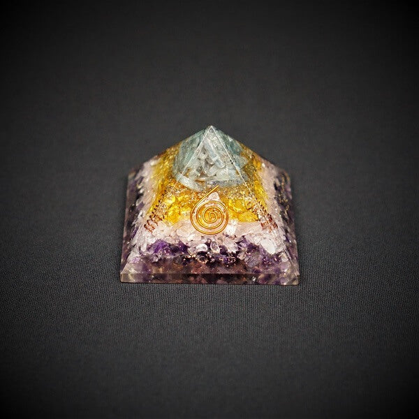 Amethyst, Rose Quartz, Citrine and Blue Kyanite Orgonite Crystal Pyramid - 230 grams