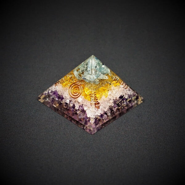 Amethyst, Rose Quartz, Citrine and Blue Kyanite Orgonite Crystal Pyramid - 230 grams - Heavenly Crystals Online