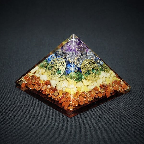 7 Chakra Orgonite Pyramid - 250 grams - Heavenly Crystals Online