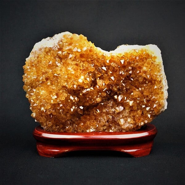 Citrine Crystal Cluster on a Custom Wooden Base - 2.277 kgs - Heavenly Crystals Online