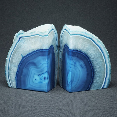 Blue Agate Bookends - 2.171 kgs