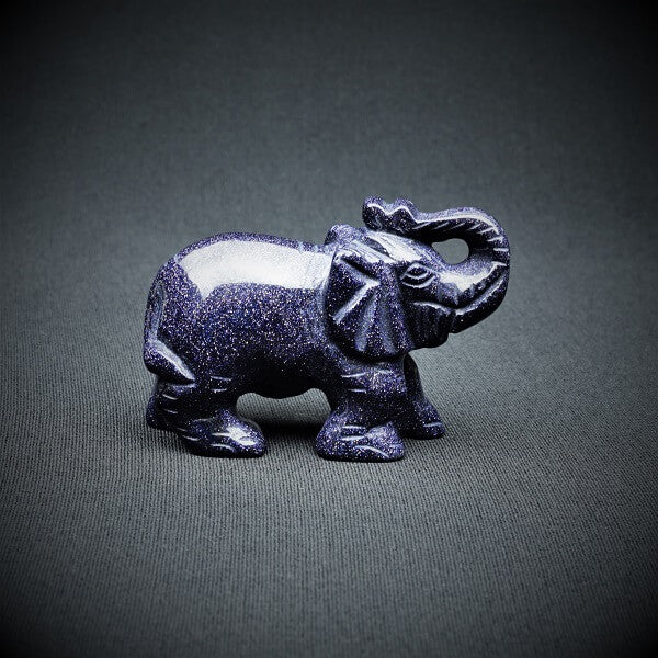 Blue Goldstone Elephant (Man-made) - 125 grams - Heavenly Crystals Online