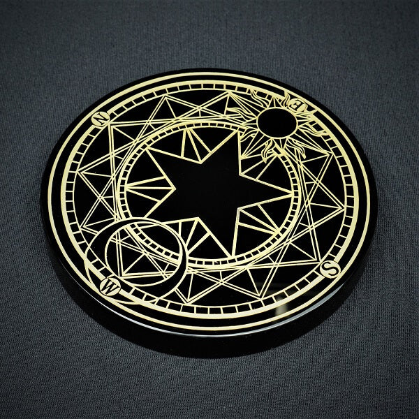 Black Obsidian Compass Grid Plate - 395 grams - Heavenly Crystals Online