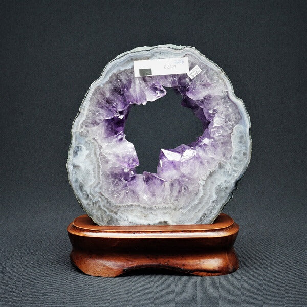 Amethyst Geode Slice on Wooden Base - 900 grams - Heavenly Crystals Online