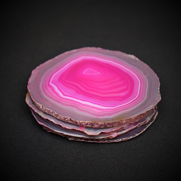 Pink Agate Coasters - Heavenly Crystals Online