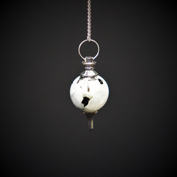 Moonstone Sphere Pendulum With Silver Tip - Heavenly Crystals Online