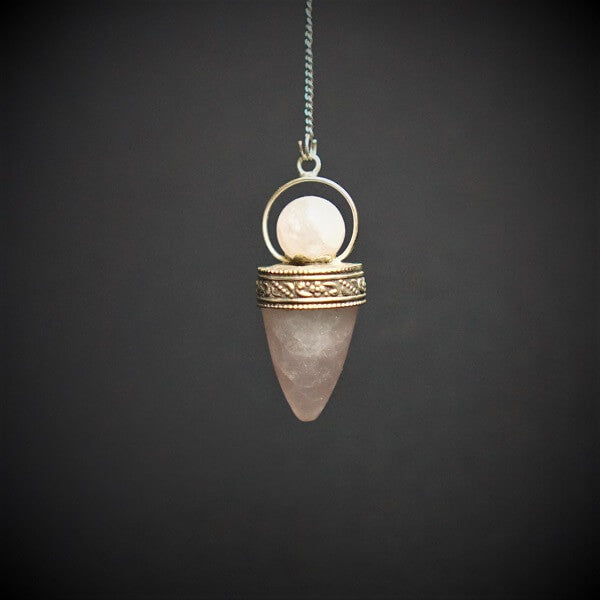 Rose Quartz Cone with Ball Pendulum - Heavenly Crystals Online