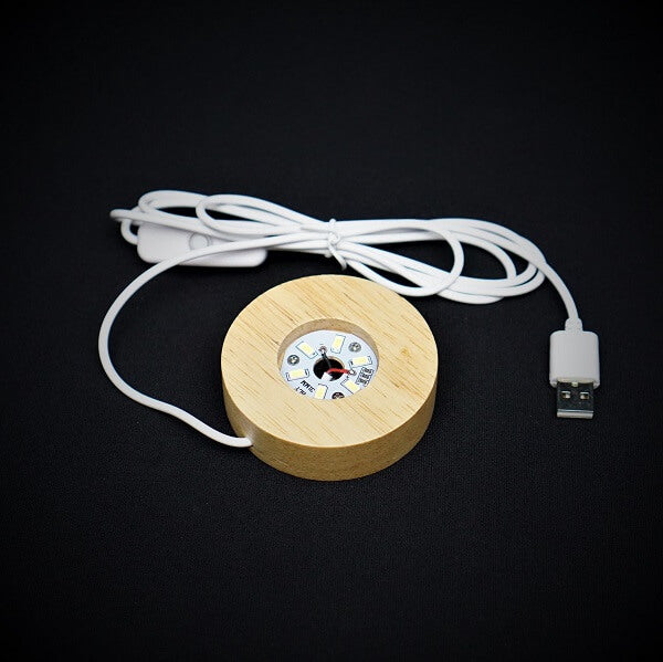 Wooden Base, LED White Light Stand for Crystal - 71 grams