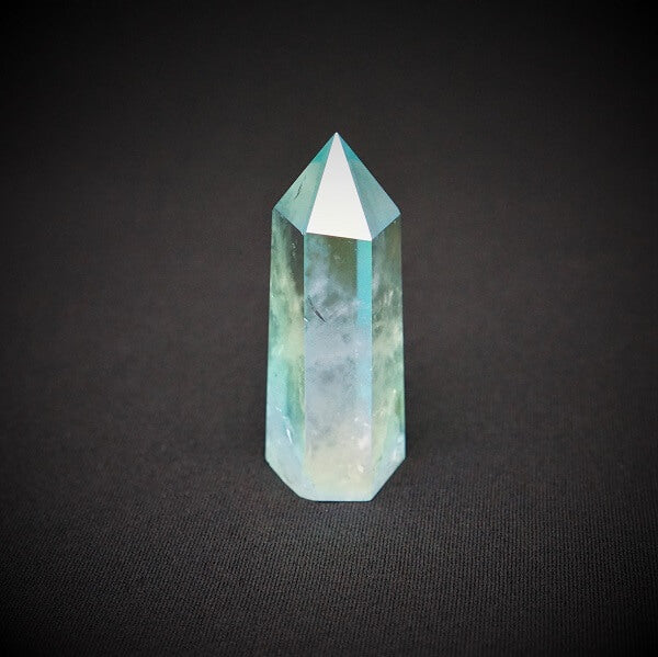 Ocean Blue Aura Quartz Generator Point - 123 grams