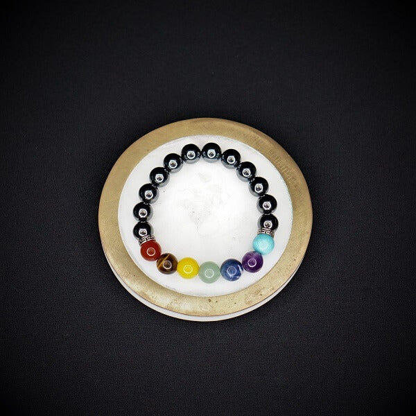 Hematite with 7 Chakra Healing Bracelet - 10mm - Heavenly Crystals Online
