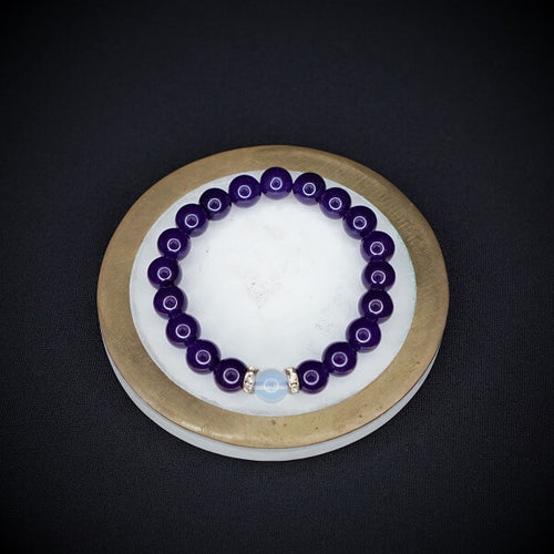 Amethyst with Opalite Bracelet - 8mm - Heavenly Crystals Online