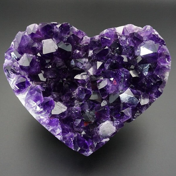 Amethyst Geode Heart Polished Edge AAA Grade Deep Purple - 641 grams - Heavenly Crystals Online