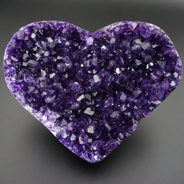 Amethyst Geode Heart Polished Edge - 862 grams - Heavenly Crystals Online