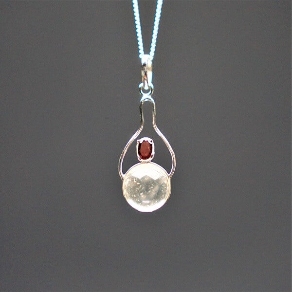 Clear Quartz with a Ruby Quartz Pendant 925 Sterling Silver - Heavenly Crystals Online