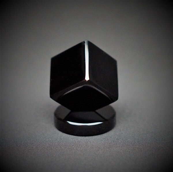 Black Obsidian Cube on Round Base Plate - 207 grams - Heavenly Crystals Online