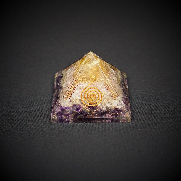 Amethyst, Rose Quartz, Citrine & Clear Quartz Orgonite Crystal Pyramid - 214 grams