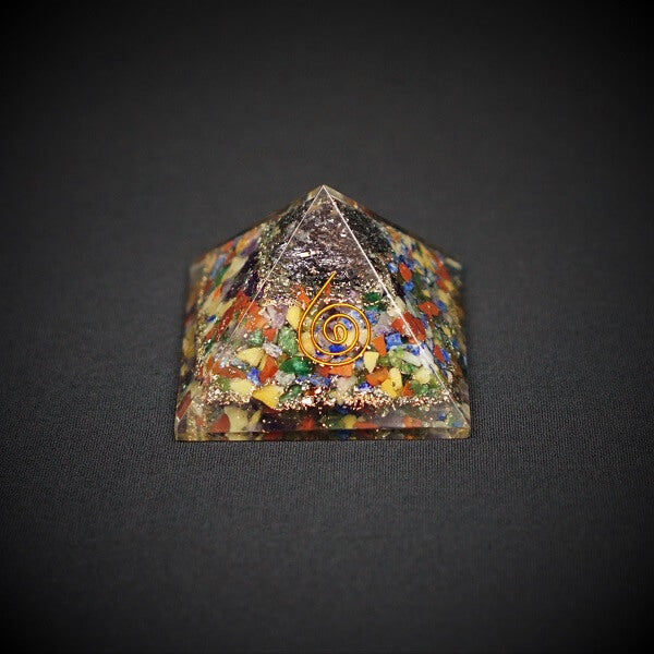 7 Chakra with Black Tourmaline Orgonite Crystal Pyramid - 198 grams - Heavenly Crystals Online