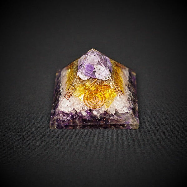 Amethyst, Rose Quartz, Citrine, Chariote Orgonite Crystal Pyramid - 257 grams