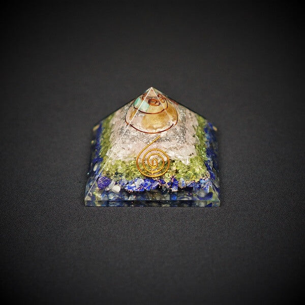 Lapis Lazuli, Peridot, Rose Quartz and Citrine Orgonite Crystal Pyramid - 221 grams