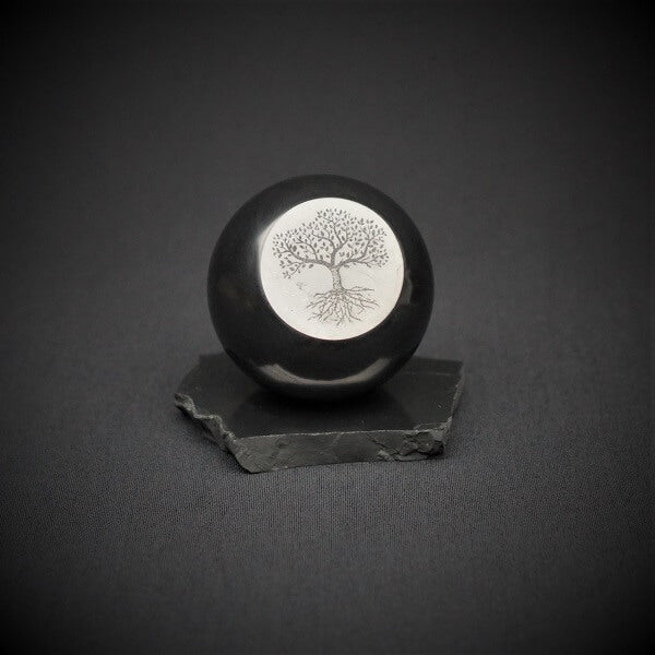 Shungite Sphere engraved Tree of Life with stand - 737 grams - Heavenly Crystals Online