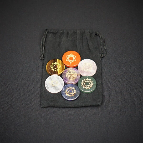 7 Chakra Palm Stone Set Symbols with an Velvet Pouch - Heavenly Crystals Online