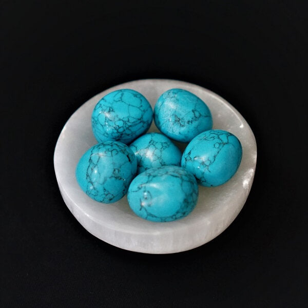 Blue Howlite Large Tumbled Stones - heavenly-crystals-online