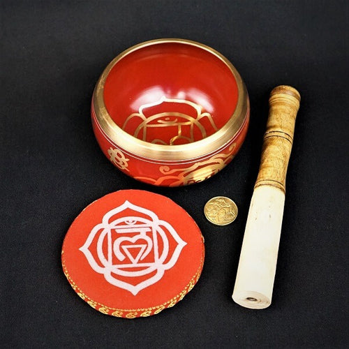 Red Brass Singing Tibetan Bowl includes Striker and Cushion - Base/Root Chakra - Basic and Trust - Heavenly Crystals Online