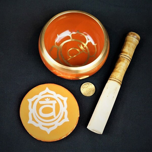Orange Brass Singing Tibetan Bowl include Striker & Cushion - Sacral Chakra - Sexuality & Creativity - Heavenly Crystals Online