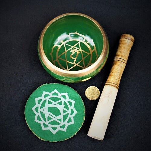 Green Brass Singing Tibetan Bowl includes Striker and Cushion - Heart Chakra - Love and Healing - Heavenly Crystals Online