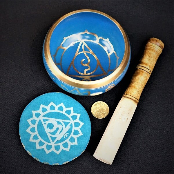 Blue Brass Singing Tibetan Bowl includes Striker and Cushion - Throat Chakra - Communication - heavenly-crystals-online