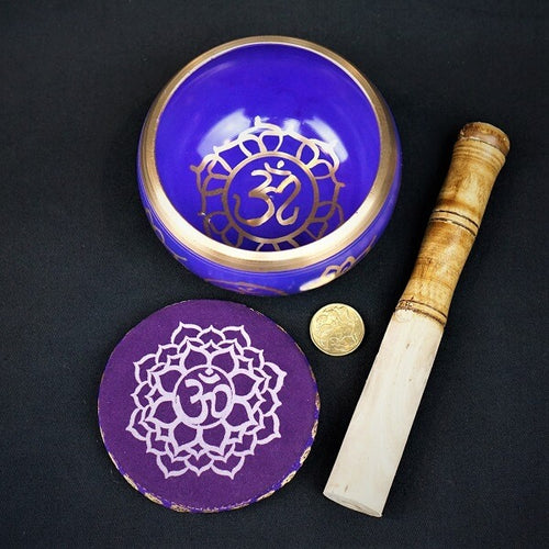 Purple Brass Singing Tibetan Bowl includes Striker and Cushion - Crown Chakra - Spirituality - Heavenly Crystals Online