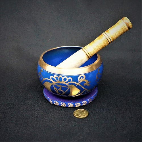 Blue Brass Singing Tibetan Bowl includes Striker and Cushion - Third Eye Chakra - Awareness - Heavenly Crystals Online