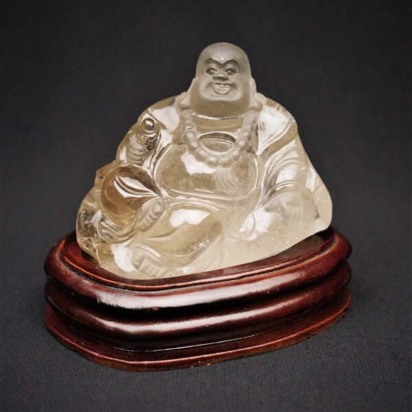 Smoky Quartz Buddha with stand - 1.293 kgs - Heavenly Crystals Online
