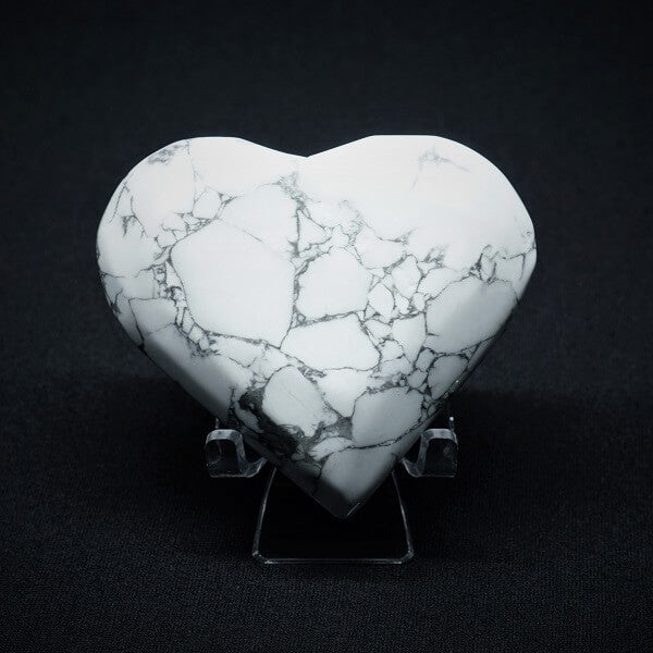 White Howlite Heart - 221 grams - Heavenly Crystals Online