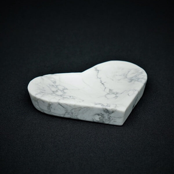 White Howlite Heart Bowl - 155 grams - Heavenly Crystals Online