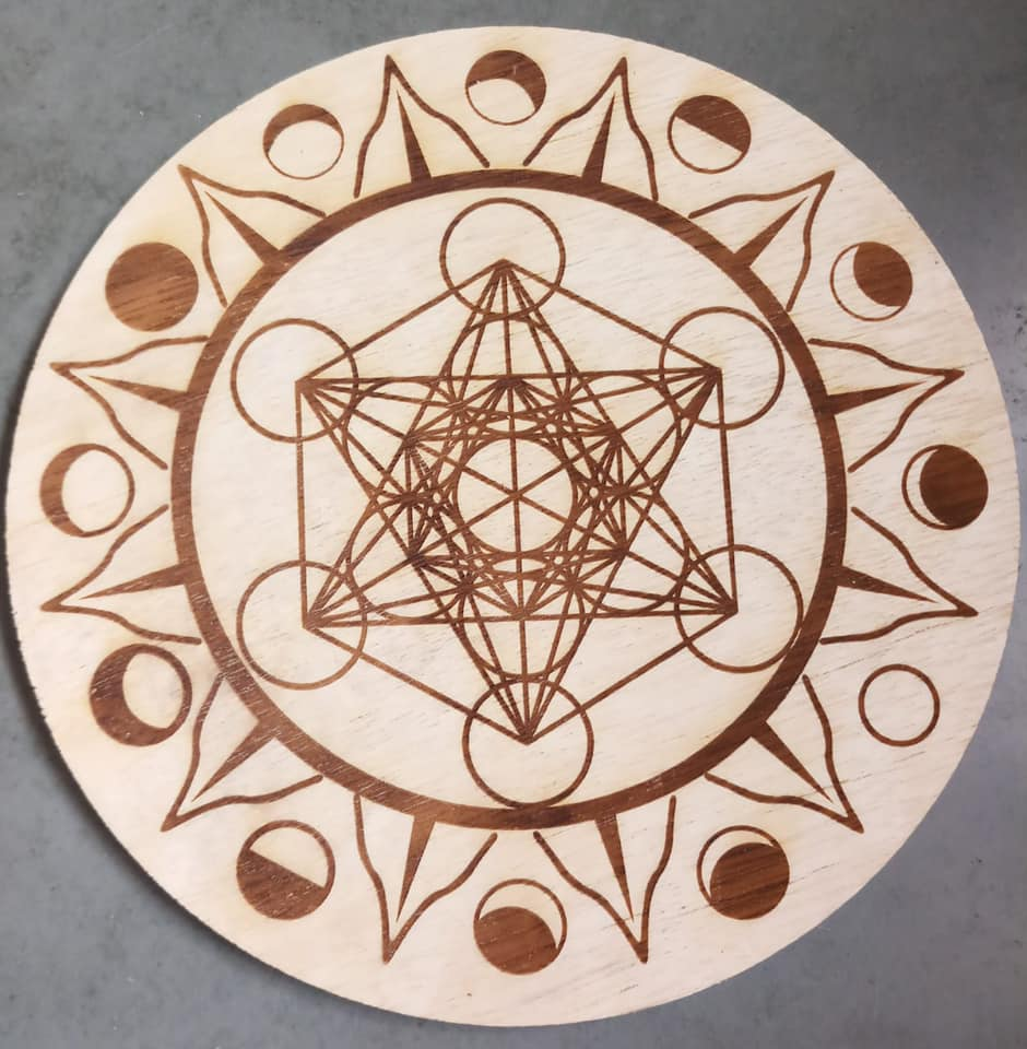 Metatron's Cube with Moon Phase Crystal Grid - 290mm x 11mm - Heavenly Crystals Online