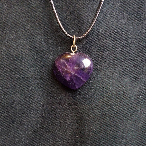 Amethyst Heart Pendant - Heavenly Crystals Online