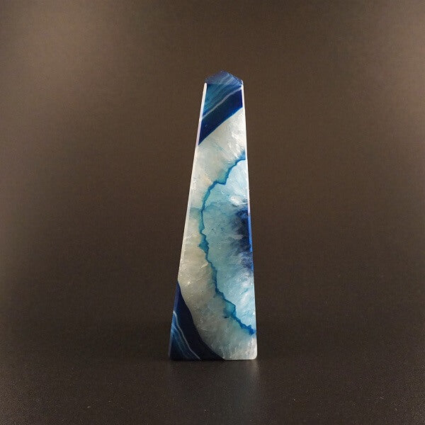 Blue Agate Obelisk Tower - 378 grams - Heavenly Crystals Online